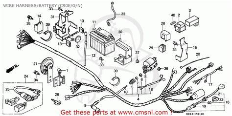 honda c90 cub 1986 g ssw wire harness battery c90e g n schematic partsfiche