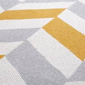 Tapis En Coton : tapis graphique en coton gris et jaune 180x120cm joy ~ Nature-et-papiers.com Idées de Décoration