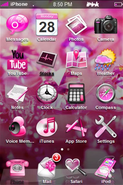 pink phone themes ipink pink 3d theme