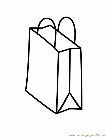 Bag Coloring Shopping Bags Clipart Pages Money