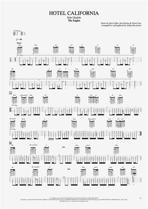 Hotel California By The Eagles  Solo Ukulele Guitar Pro Tab Mysongbookcom