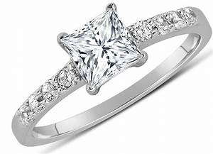 1 carat princess cut diamond engagement ring in 10k white With white gold diamond cut wedding ring