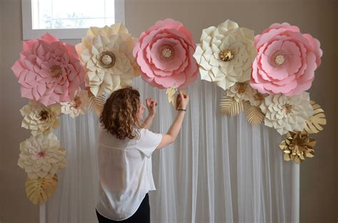 paper flower backdrop paper flower template diy paper