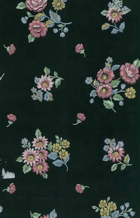 black floral vintage wallpaper pink blue yellow sm drs
