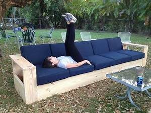 i built a very long outdoor sofa out of wood first With homemade lawn furniture