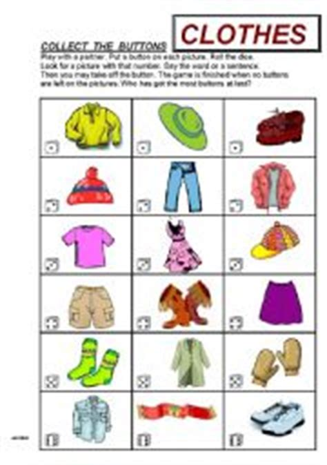 collect  buttons clothes game esl worksheet