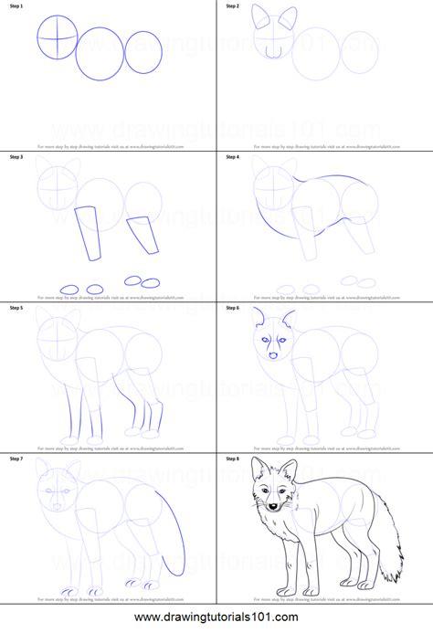 draw  fox printable step  step drawing sheet