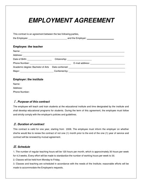 Template Of A Contract Of Employment by Top 5 Free Employment Agreement Templates Word Templates