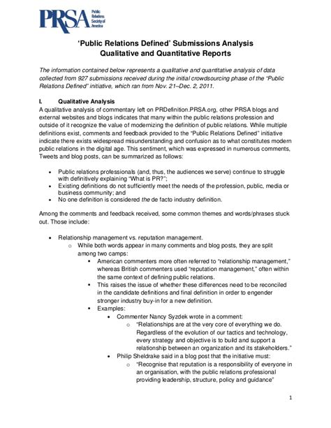 public relations defined submissions analysis