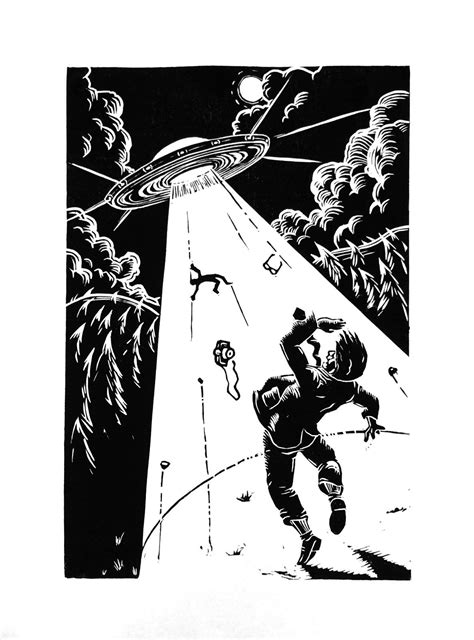 Alien abduction! #linocut by Leo Baker 20cm x 30cm | Art