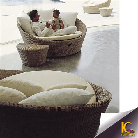 round loveseat with ottoman patio loveseat ottoman sectional round sunbed rattan