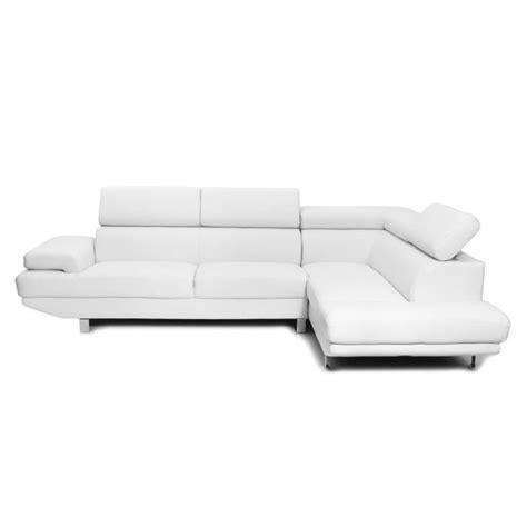 miliboo canapé d 39 angle en cuir blanc avec têt achat