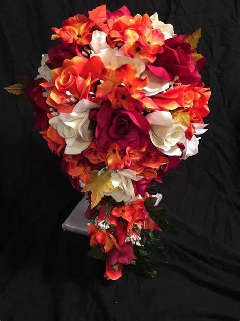 Wedding Bridal Bouquet Burgundy Yellow Red Orange Silk
