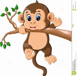 Cute Baby Monkey Cartoon Stock Vector - Image: 70354705