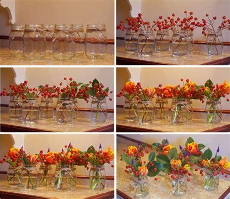 Herbst Deko Gartenparty by Hagebutte Deko Basteln Ideen Tischdeko Blumen Glasdosen