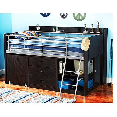 full size charleston storage loft bed with desk charleston storage loft bed with desk espresso walmart com