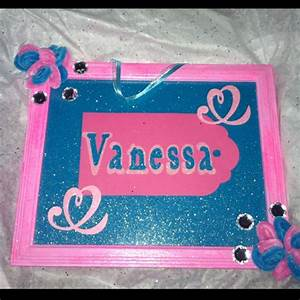 hand made name plate with painted frame letters cut out With cut out letter picture frames