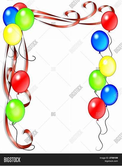 Balloons Invitation Birthday Border Card Illustration Background