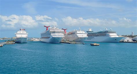 Cruise Ships In Harbor Of Nassau - Bahamas