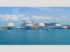 Cruise ships in harbor of Nassau Bahamas