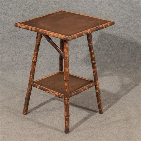 vintage bamboo side table antique side table l two tier bamboo 19thc antiques atlas