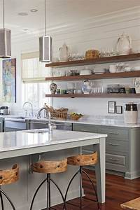Open kitchen shelves farmhouse style open shelving for Kitchen colors with white cabinets with buddha 3 piece wall art