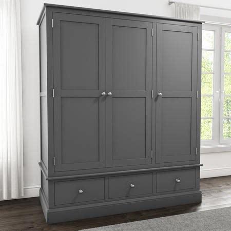 Grey Wood Wardrobe by Grey Solid Wood 3 Door 3 Drawer Wardrobe Furniture123
