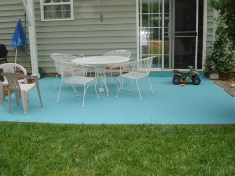 diy painting concrete patio aqua