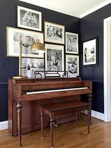 Green street decorating around a piano for Best brand of paint for kitchen cabinets with piano framed wall art