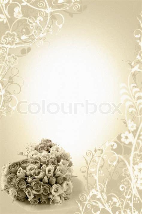 beige wedding background  roses bouqete stock photo