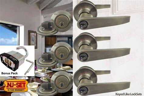 3 Sets Of Nuset Tustin Keyed Alike Entry Door Lever