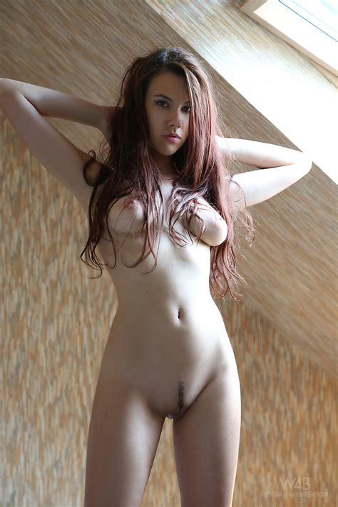 Long Haired Brunette Teen Posing Naked On T XXX Dessert