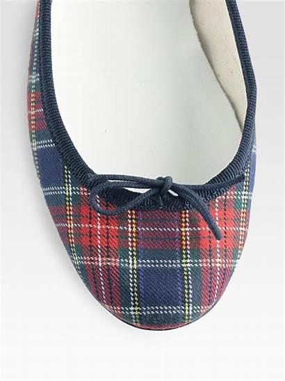 Plaid Tartan Flats Ballet Repetto Cotton Shoes
