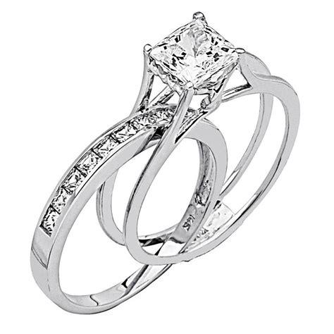 white gold princess cut wedding rings 2 ct princess cut 2 engagement wedding ring band set 1333