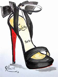 Fashion illustration: louboutin inspired shoe pen and