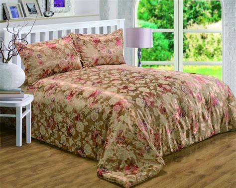 Floral Bedspreads by Gold Colour Bronze Floral Rich Jacquard Quilted Bedspread
