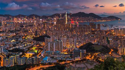 hong kong night panorama hd travel wallpapers hd