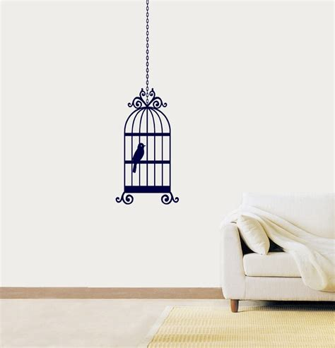 Bedroom Wall Drawings by Simple Bird Cage Drawing Bird Cage Vinyl Sticker Wall