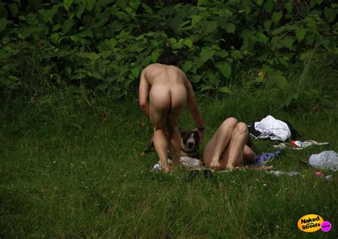 Couple Caught Fucking Outdoor While Dog Watches