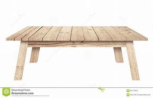 Brown Wooden Table Is Isolated White Background Stock