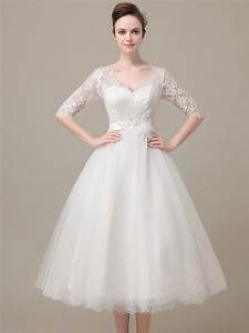 lace tea length wedding dress with sleeves With tea length lace wedding dresses