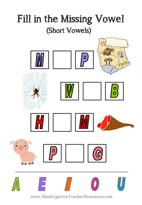 missing vowel worksheets