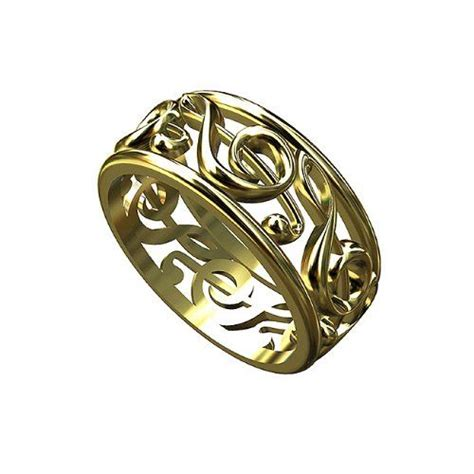 14k yellow gold treble clef music note ring jewelry