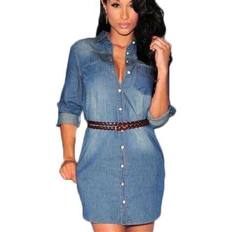 Summer 2016 Denim Dress Jeans Women Vintage Dresses Casual Shirt Dress Sexy Party Denim Dress ...