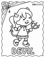 Halloween Devil Coloring Pages Printable Print Sheknows Cards Vampire Diaries Colouring Sheets Printables Valentine sketch template