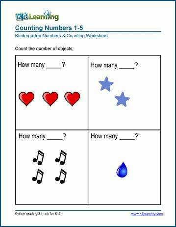 Counting And Writing Numbers (110) Worksheets  K5 Learning
