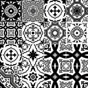Carreaux De Ciment Noir Et Blanc : 16 stickers carrelages azulejos modernes nuance noir et ~ Dailycaller-alerts.com Idées de Décoration