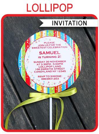 lollipop invitations template birthday party