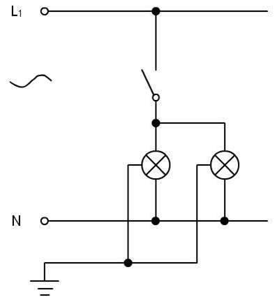 punto de luz con dos luces en paralelo
