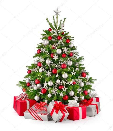 christmas tree and gifts in red and silver stock photo
